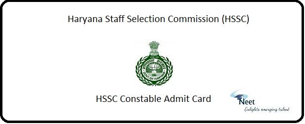 HSSC Constable Admit Card 2020