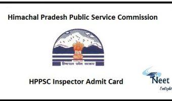 HPPSC Inspector Admit Card 2020