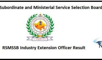 RSMSSB Industry Extension Officer Result