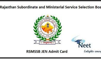 RSMSSB JEN Admit Card 2020