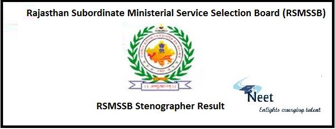 RSMSSB Stenographer Result