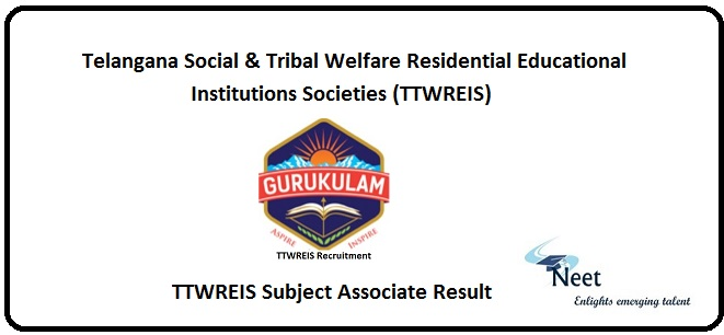 TTWREIS Subject Associate Result 2020