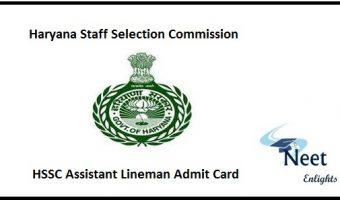 HSSC Assistant Lineman Admit Card