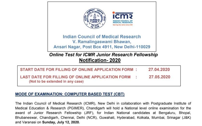 ICMR Recruitment Notification 2020