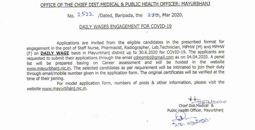 Mayurbhanj District Office Recruitment