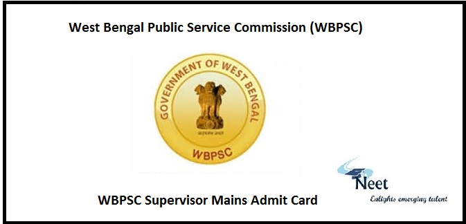 WBPSC Supervisor Mains Admit Card