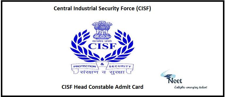 CISF Head Constable Admit Card