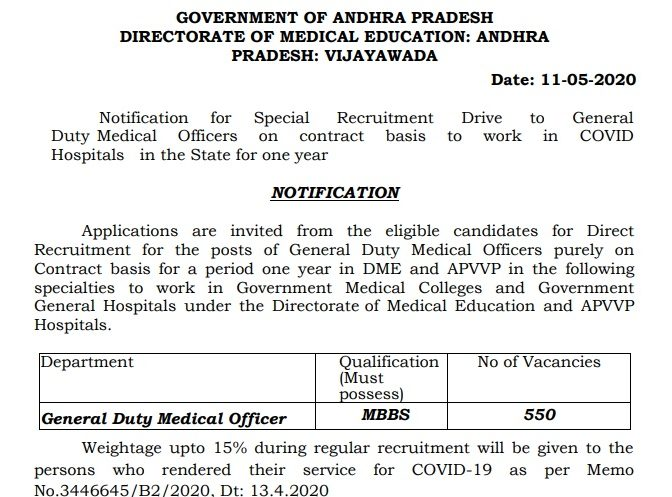 DME AP GDMO Recruitment 2020