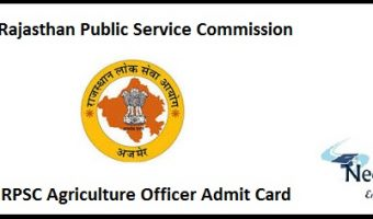 RPSC Agriculture Officer Admit Card
