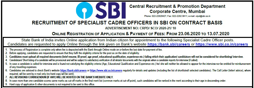 SBI Specialist Cadre Officer Jobs
