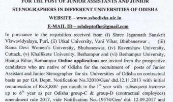 SSB Odisha Junior Assistant Jobs