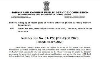 JKPSC Medical Officer Recruitment 2020