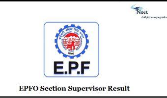 EPFO Section Supervisor Result