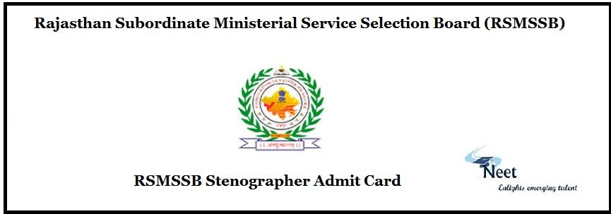 RSMSSB Stenographer Admit Card