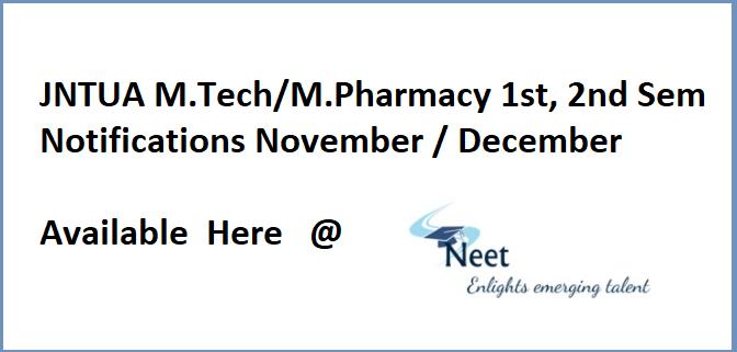 jntua-mtech-mpharmacy-notifications-2020