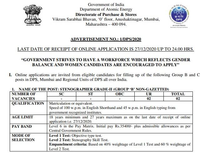 Atomic Energy Recruitment 2020