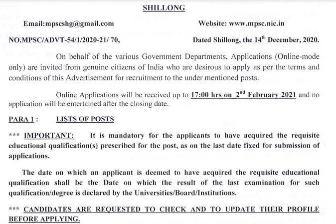 Meghalaya PSC Jobs 2021