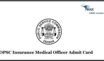 OPSC Insurance Medical Officer Admit Card