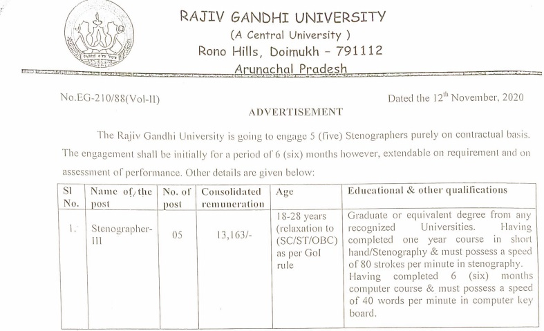 RGU Steno Recruitment 2020