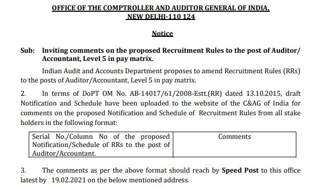 CAG Recruitment 2021