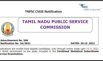 TNPSC CSSSE Notification 2021