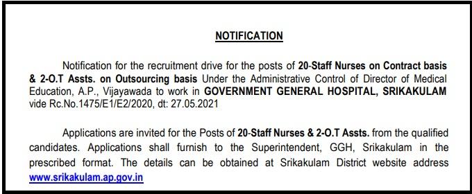 Srikakulam Medical Staff Recruitment 2021